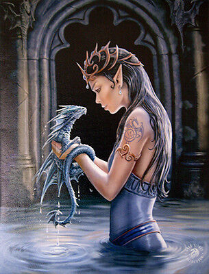 """Water Dragon Plaque by Anne Stokes on Quality Canvas 10"""" x 7"""""""