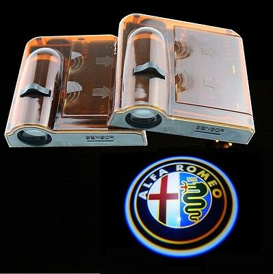 2pcs Wireless LED door Welcome Projector Logo ghost shadow light for ALFA ROMEO