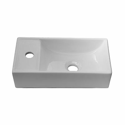 ENKI Compact Designer Small Rectangular Cloakroom Ceramic White Basin Sink