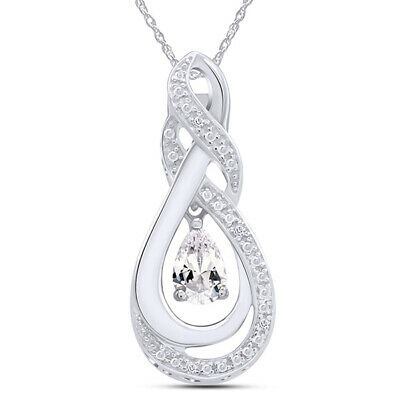 White Topaz & Natural Diamond Accent Teardrop Pendant in Sterling Silver