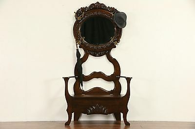 Victorian 1900 Antique Oak Hall Bench, Beveled Mirror & Storage
