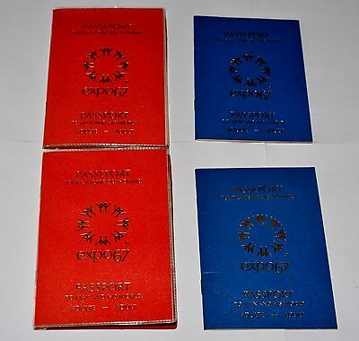 Lot 4 EXPO 67 Montreal Canada Passports To Man and His World blue red
