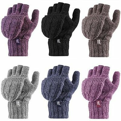Heat Holders - Womens Winter Warm Cable Knit Thermal Converter Fingerless Gloves