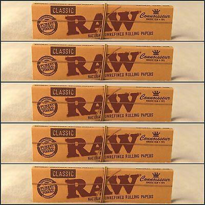 5 Packs Raw Classic Connoisseur King Size Slim Rolling Papers + Tips BEST PRICE!