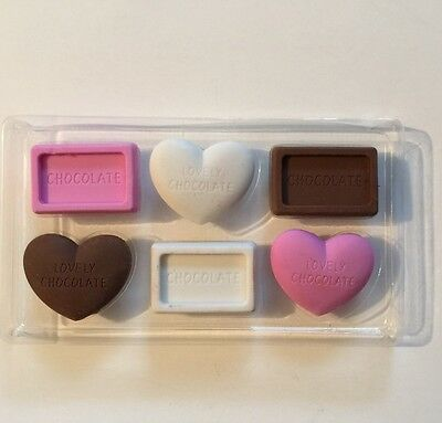 PKG Of 6 Fake Food Chocolate Erasers