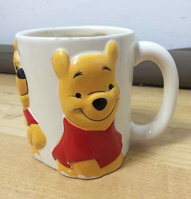 Disney Winnie The Pooh Cup Mug 3 Faces Smiling Surprised 3-D Vintage