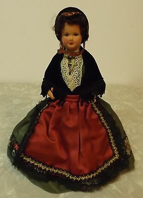 """Vintage Italian made French doll  7"""" Victorian dress BEAUTIFUL!"""