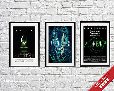 A3 or A4 Size * BEST ALIEN Movie Posters Trilogy * Great Science Fiction Series