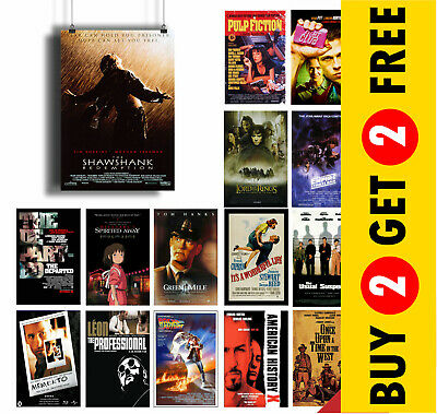 A3 A4 SIZE OPTIONS: IMDB TOP 1to50 MOVIE POSTERS Print Film Cinema Wall Room Art