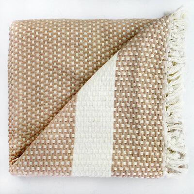 EXTRA LARGE SOFT Waffle THROW BLANKET Thick Turkish Woven Rug Tassels Bed Cover