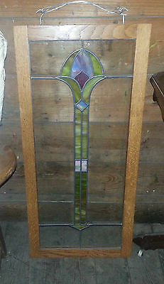 "Antique Beautiful 35"" Tall Stained Glass Window Framed by Bogenrief Studios"