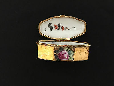 Antique French Small Gilded & Hand Decorated Lidded Box , Size 7 X 3 X 3 Cm