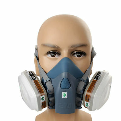 3M 7502 7 Piece Suit Half Mask Respirator Painting Spraying Face Gas Filters