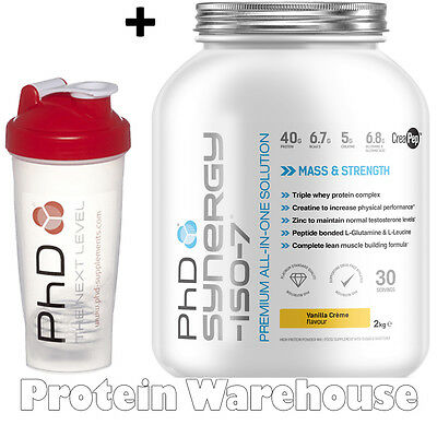 PhD Synergy ISO-7 2 kg Protein All In One Shake New Formula + Free PhD Shaker