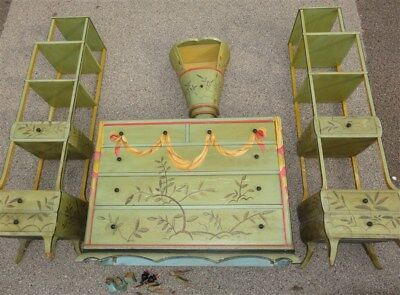 4 Piece 1930s Art Deco Moderne Oriental Painted Cottage Furniture Etagere *AS IS