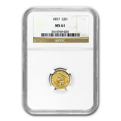 $1 Indian Head Gold Coin - Type 3 - Random Year - MS-61 NGC or PCGS - SKU #22175