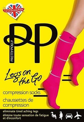 Pretty Polly LEGS ON THE GO - Compression Sock -  Holiday Flight Socks Hot Pink