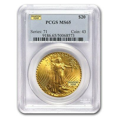$20 Saint-Gaudens Gold Double Eagle Coin - Random Year - MS-65 PCGS - SKU #7225