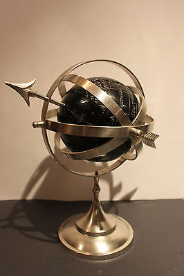 (AA-10079) Armillary Sundial-Faux, Stainless Steel + Marble, Stationary, NOS