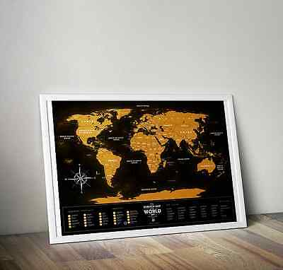 Black Travel World Scratch Map for travelers. Make history of your trips. Poster