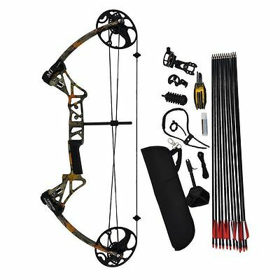 20 -70LB Compound Bow and Arrow Archery Hunting Target USA Limbs Camo Bow