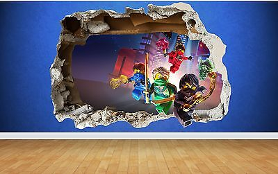 Lego Ninjago 3D Style smashed wall sticker kids childrens bedroom vinyl art
