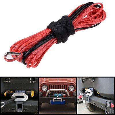 """50'X 1/4"""" 6400 LBs RED Synthetic Winch Wire Cable Rope Car ATV UTV Offroad Truck"""
