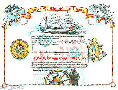 Order of the Square Rigger Certificate new unused US Naval Institute