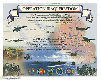 Operation Iraqi Freedom Certificate blank mint  US Naval Institute