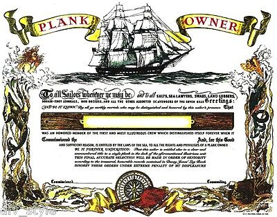 Plank Owner Certificate blank mint condition US Naval Institute