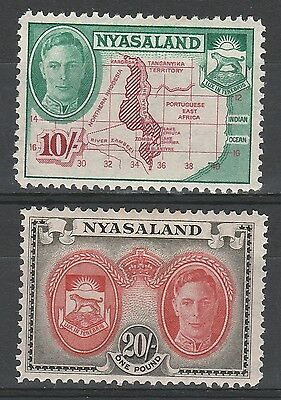 Nyasaland 1945 Kgvi Map And Arms 10/- & 20/- Top 2 Values