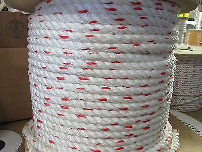 "1/2"" X 100' COMBO PLUS RIGGING ,HOIST ROPE 4200 LBS White,RED Tracer"