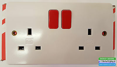 MK 13a 2 GANG TWIN DP DOUBLE SWITCH SOCKETS WITH RED ROCKERS K2747D1WHI