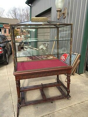4 Available Priced Each Bronze Glass Walnut Antique Showcases