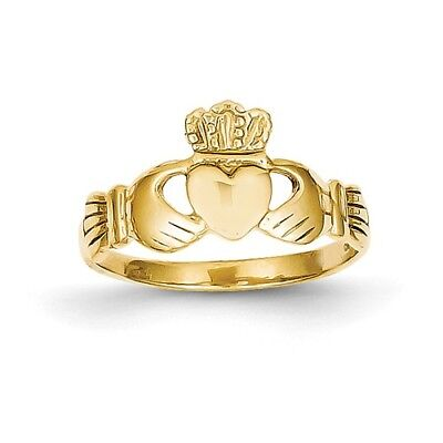 14k Yellow Gold Polished Ladies Claddagh Ring.