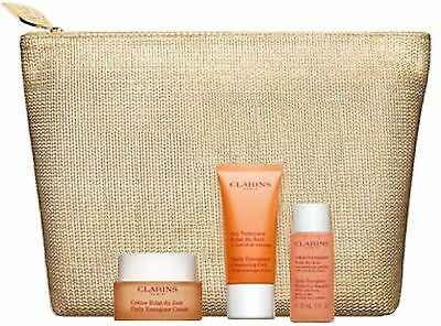 CLARINS DAILY ENERGIZER COLLECTION 3X 30ml FACE PRODUCTS & TOILETRY BAG GIFT SET