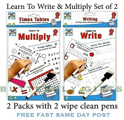 Set Of 3 Wipe Clean Books 1St Learning School Educational Writing Shapes Colours