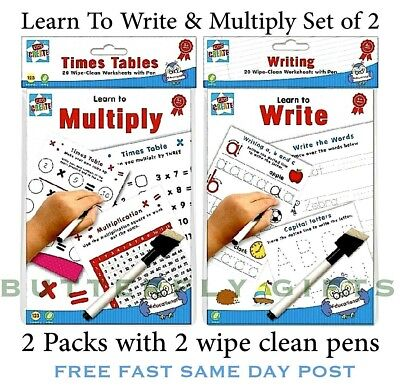 Wipe Clean Children's Books Learn To Multiply Book Plus Learn To Write With Pen