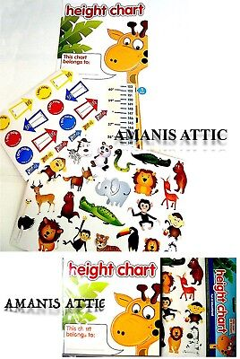 Childs Kids Height Chart with 40 Stickers and Instructions Jungle Animals Theme