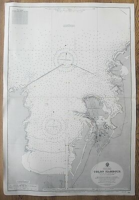 1906 Colon Harbour Isthmus Of Panama Old Vintage Admiralty Chart Map