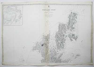 1883 Shetland Isles 2 Large Antique Admiralty Charts Maps
