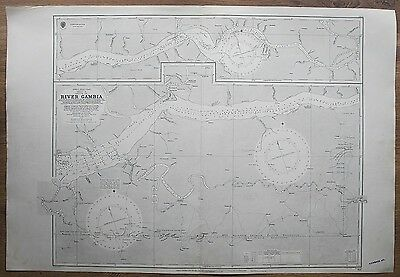 1826 Africa River Gambia Vintage Admiralty Chart Map Surveyed Hms Leven