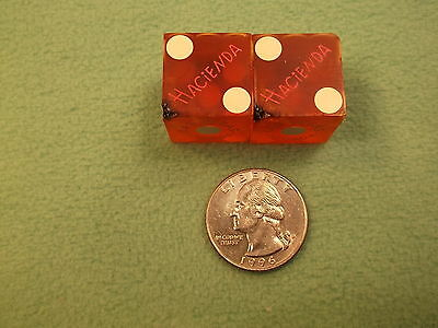 """#7 of 30, PAIR OF OLD VTG CASINO USED DICE -- """"HACIENDA"""" RED WITH WHITE DOTS"""