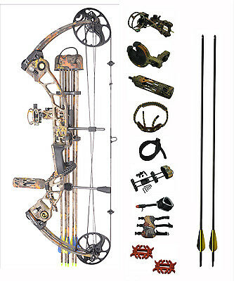 Deluxe 15-70Lb Compound Bow & Arrow Hunting Target Archery Us Limbs Right Hand