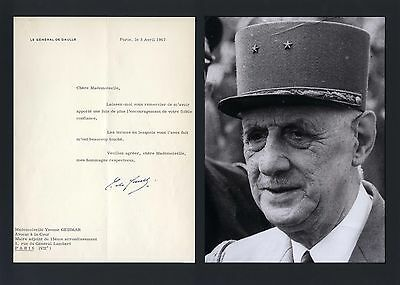 Charles de Gaulle FRENCH autograph, typed letter signed