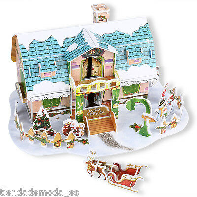 Mini Christmas Cottage 3D Jigsaw Puzzle Educational Kids DIY Toy Gift UK Fast
