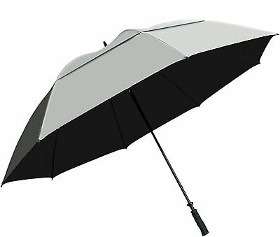 "Sun Tek 68"" Golf Umbrella UV Protection Wind Cheater Vented Canopy Silver/Black"