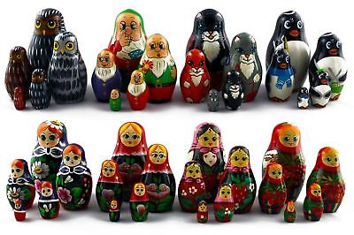 Lot 8 Matryoshka Russian Nesting Doll Wooden Puppe Poupee Babushka Craft 5 pcs