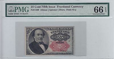 25 Cent Fifth Issue Fractional Currency FR # 1309 PMG Gem CU 66 EPQ 5th 25c