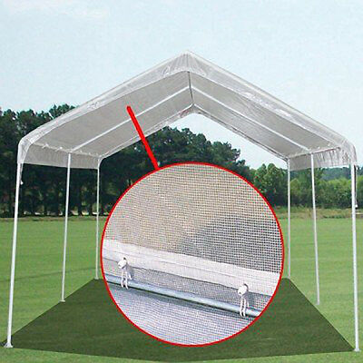 12 X 20 Heavy Duty 14mil Valance Replacement Canopy Tarp Carport Cover - Clear